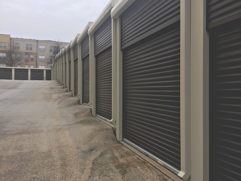 row of garage doors installed